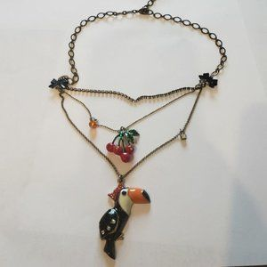 Betsey Johnson tucan cherry necklace